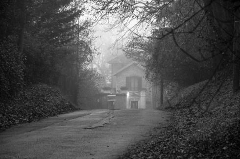 Maison sous la brume