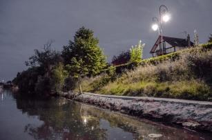 La Marne éclairée et maison